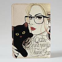 """Обкладинка на паспорт """"Дівчина з котиком"""", Обложка для паспорта экокожа """"Девушка с котиком"""" 25, фото 2"""