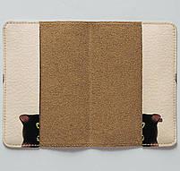 """Обкладинка на паспорт """"Дівчина з котиком"""", Обложка для паспорта экокожа """"Девушка с котиком"""" 25, фото 3"""