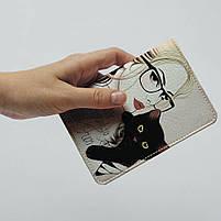 """Обкладинка на паспорт """"Дівчина з котиком"""", Обложка для паспорта экокожа """"Девушка с котиком"""" 25, фото 4"""