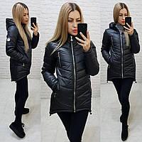 Женская куртка-парка, арт 300, цвет черный