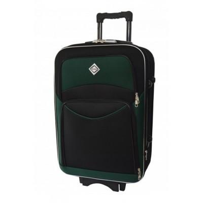 Текстильный чемодан Bonro Style средний, черно-зеленый