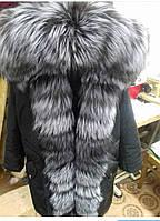 Парка женская с натуральным мехом чернобурки