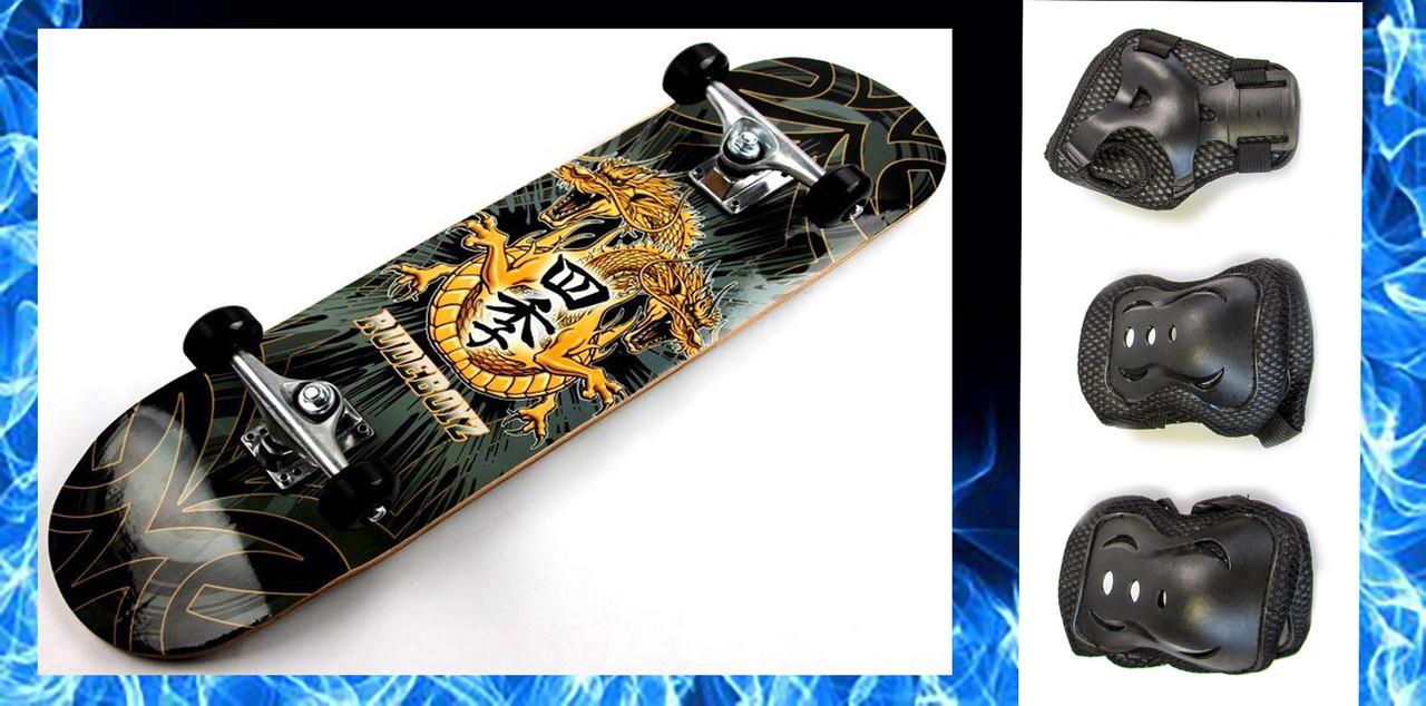 СкейтБорд деревянный Дракон + защита