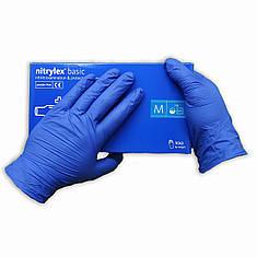 Перчатки нитиловые   Nitrylex Basic  одноразовые неопудренные нестерильные 200 шт  размер   M синие, фото 2