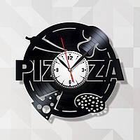 Часы пицца Часы в пиццерию Аксессуар в кафе Pizza часы Декор на стену Виниловые часы Часы на кухню 30 см