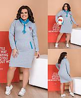 ЖІноче батальне тепле плаття   , 3 кольори.Р-ри 48-62, фото 1