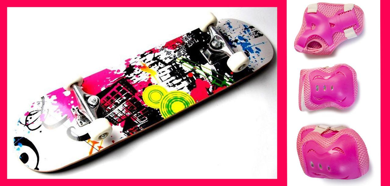 СкейтБорд деревянный Rainbow + защита