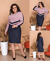 ЖІноче батальне ангорове плаття з люрексними вставками , 2 кольори.Р-ри 48-62