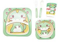 Набор детской посуды из бамбукового волокна Динозавр, 5 предметов
