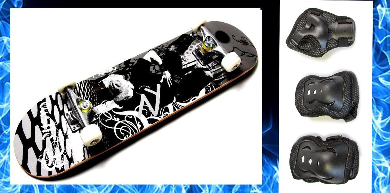 СкейтБорд деревянный  best of xip xop + защита