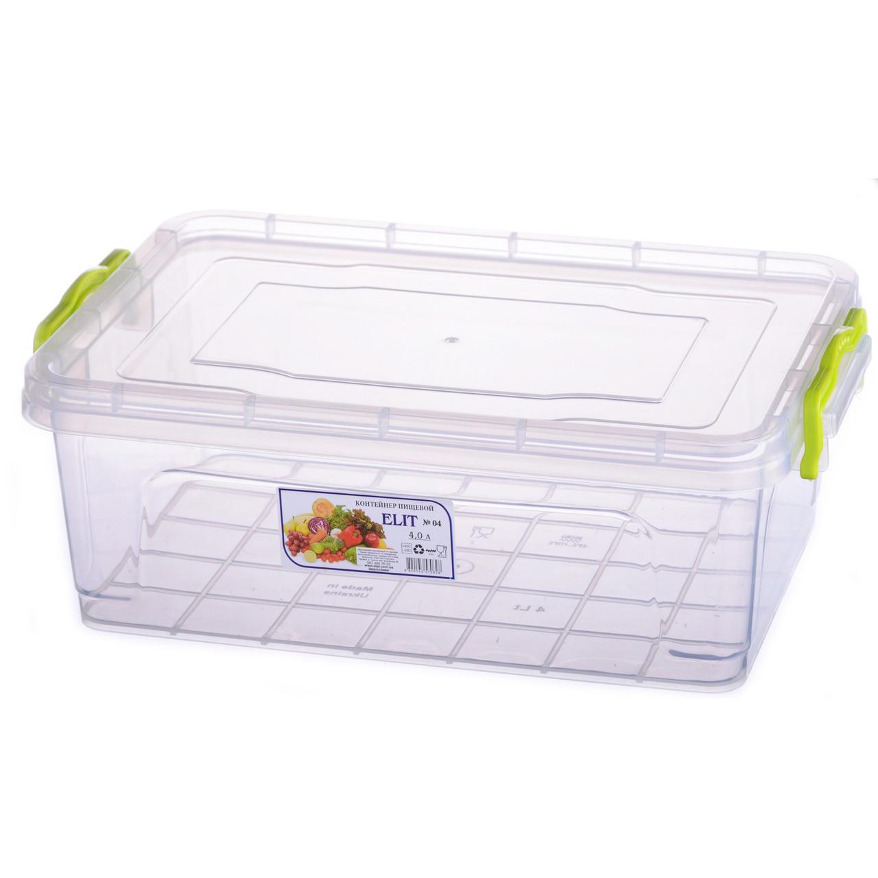 Контейнер для еды Ал-пластик  ELIT №4 объём 4 л с ручками
