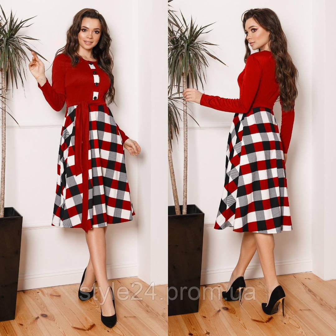 ЖІноче  плаття з поясом та юбкою в клітинку , 3 кольори.Р-ри 42-58
