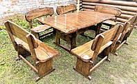 Садовая мебель из массива дерева 2000х1000 от производителя для дачи, ресторанов, комплект Furniture set - 17