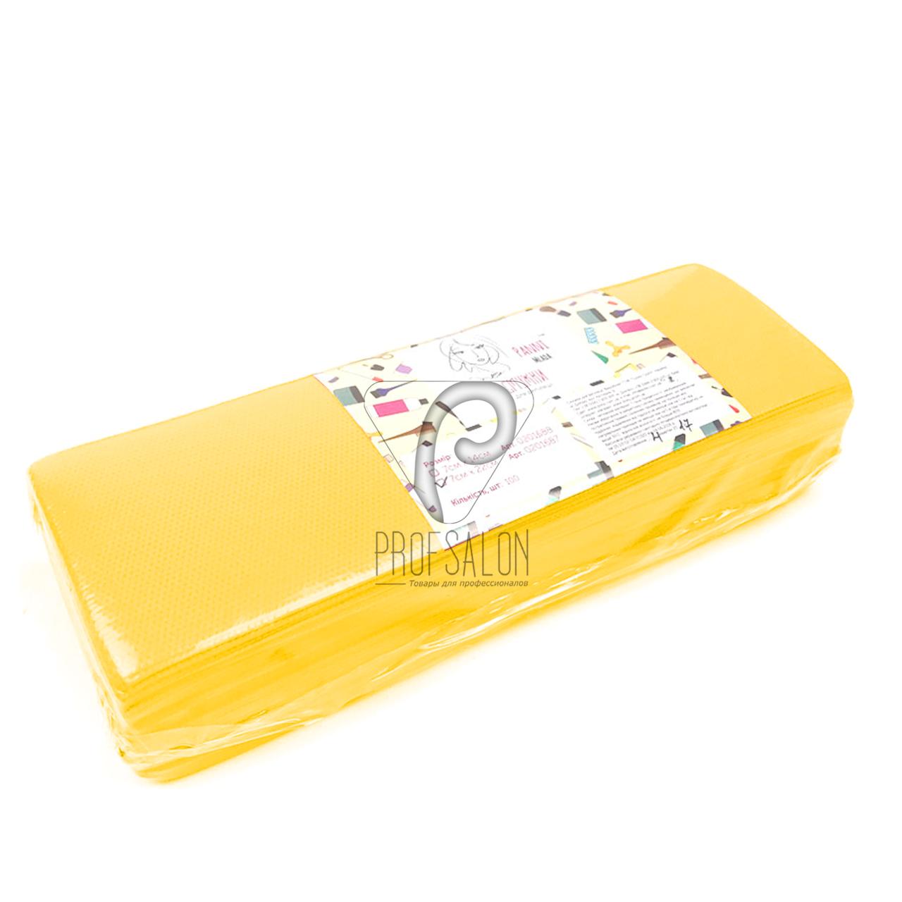 Полоски для депиляции, Panni Mlada 100 шт в упаковке, нетканые - спанбонд, желтые