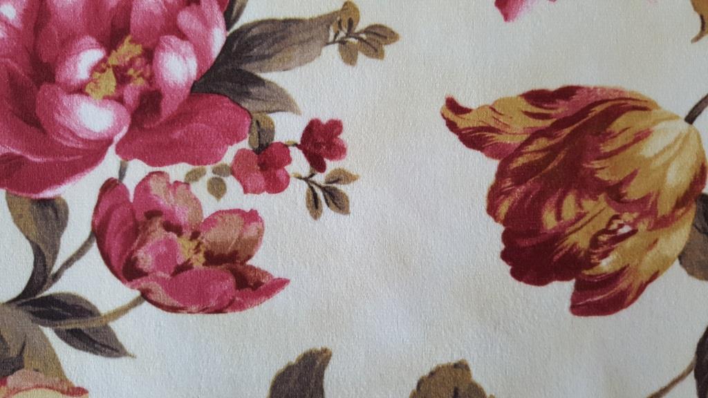 Ткань мебельная обивочная велюр ФАНТАЗИЯ КИРМИЗИ (цветочная)