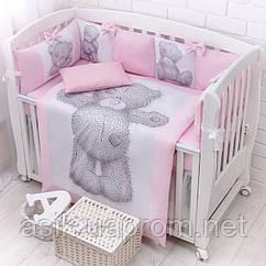 """Комплект дитячої постелі з сатину """"Ведмедик Тедді"""" рожевий (бортики на 4 сторони) № 365"""