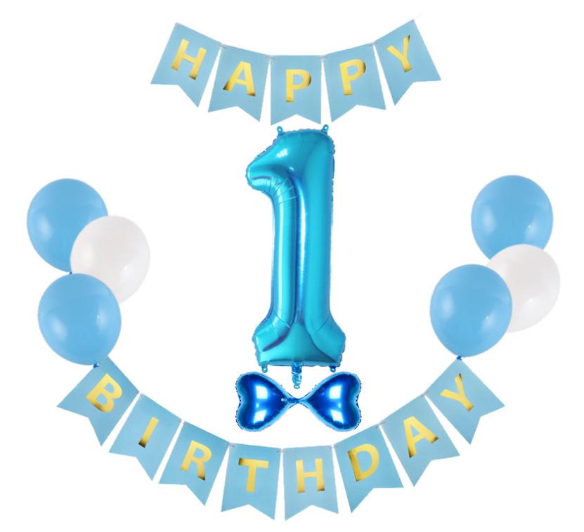 """Набор шаров на день рождения, """"HAPPY BIRTHDAY"""" 1 год украшение дня рождения синий цвет"""