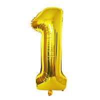 """Шарик на день рождения, """"Цифра один"""" 1 год украшение дня рождения золотой цвет 1 метр"""
