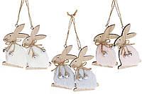 Набор  пасхальных украшений на подвесе ЗАЙКА с бубенчиками  10см, 3 вида, набор 24уп