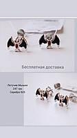 Сережки-гвоздики серебряные с  эмалью чёрной