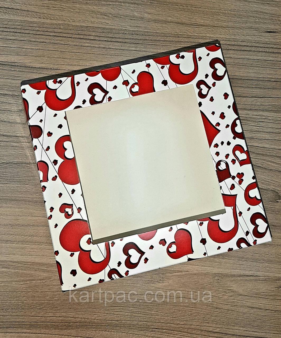Яскрава коробка для тістечок 170*170*90 принт Серце