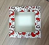 Яскрава коробка для тістечок 170*170*90 принт Серце, фото 2