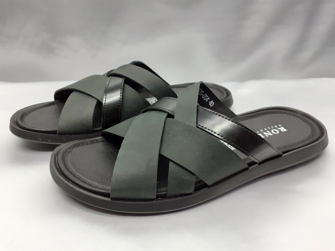 Стильные кожаные чёрные шлёпанцы Rondo