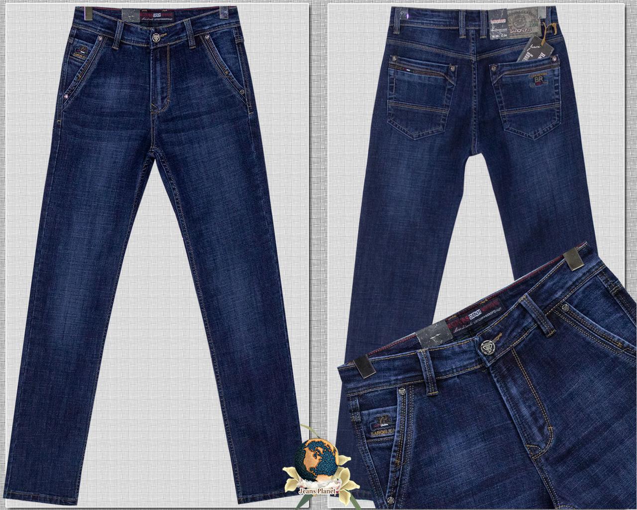 Джинсы мужские классические с косыми карманами синего цвета Baron 30 размера
