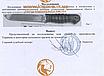 Нож охотничий для тяжелых работ НДТР-3 Длина-275мм Сталь-65X13 Рукоять-кожа наборная, дерево,латунь Подарочный, фото 4