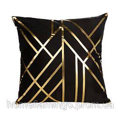 Декоративная подушка велюровая с золотистими элементами Геометрия