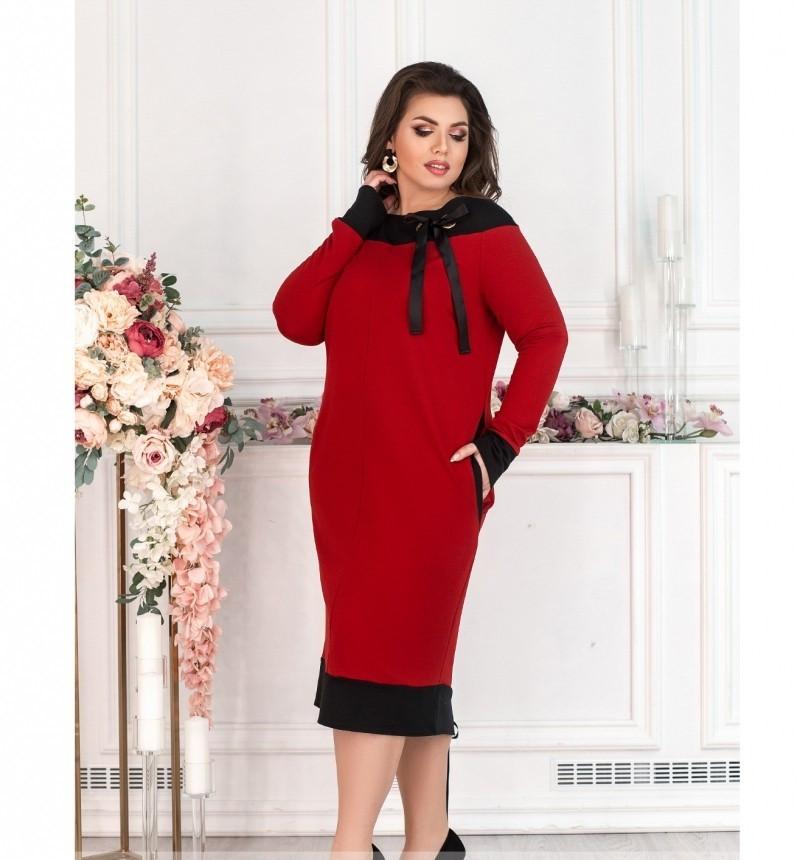 Платье женское без застёжек красное