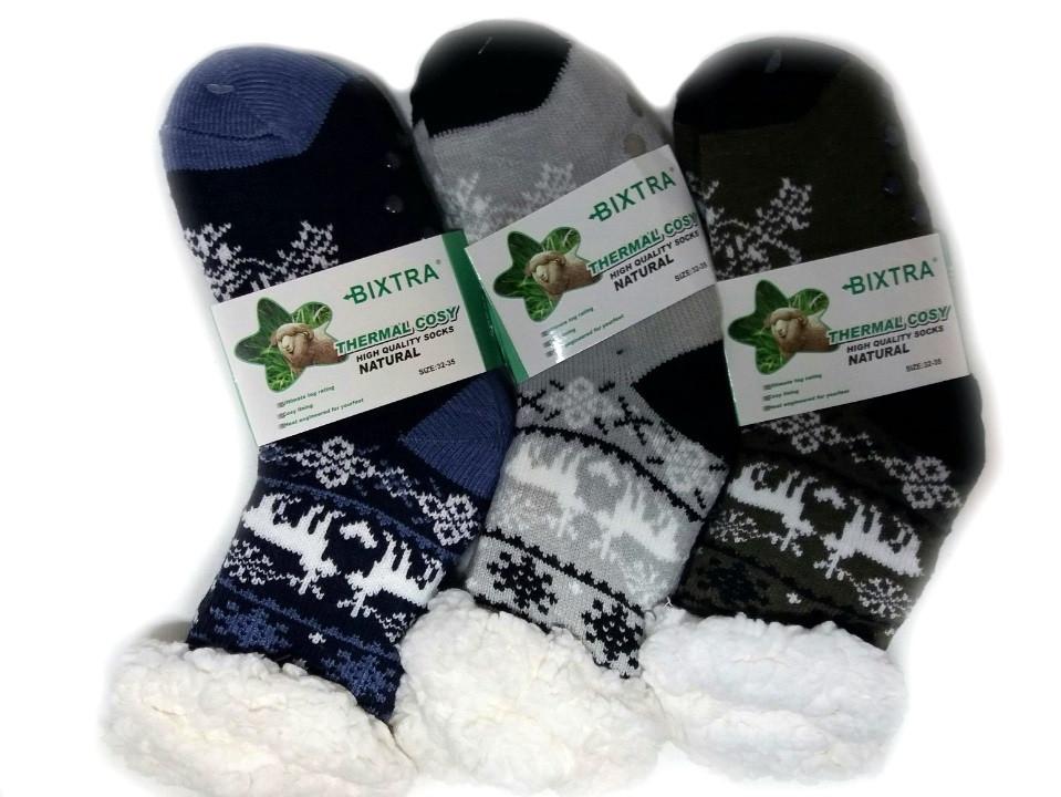 Носки-тапочки детские Bixtra- мех заворот 27-35р  HL-1830