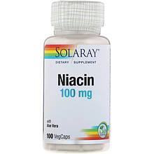 """Ніацин SOLARAY """"Niacin"""" вітамін В3 з алое віра, 100 мг (100 капсул)"""