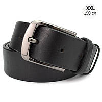 Ремень мужской кожаный батал 4 см черный KB-40 (150 см) XXL