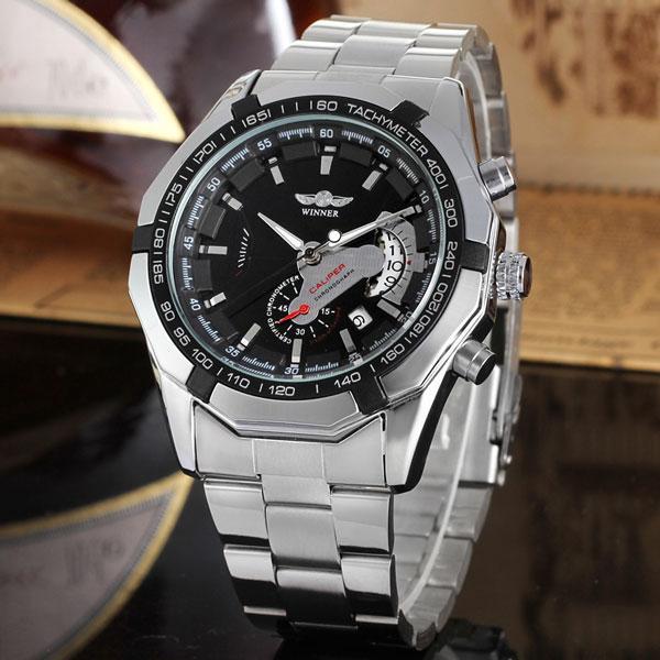 Winner titanium сріблясті з чорним циферблатом чоловічий механічний годинник скелетон