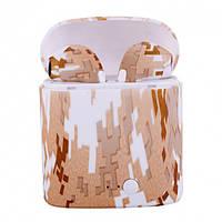 Беспроводные Bluetooth наушники i7S-TWS Камуфляж коричнево-белый