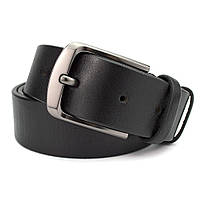 Ремень мужской кожаный под джинсы черный KB-40 (125 см)