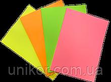 Бумага цветная А4, 80 г/м2, 200 листов. (4*50), неон ассорти. BuroMax