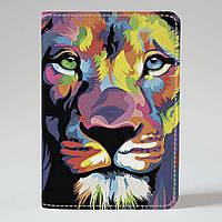 """Обкладинка на паспорт """"Кольоровий лев"""", Обложка для паспорта экокожа """"Цветной лев"""" 15"""