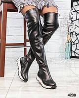 Ботфорты  женские кожаные черные деми, фото 1