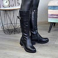 Сапоги женские кожаные на невысоком каблуке, декорированы ремешком. 36 размер
