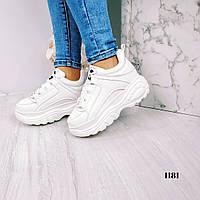 Женские белые кроссовки на платформе, фото 1