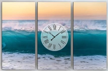 Настенные часы на холсте Волна 90х60