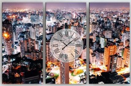 Настенные часы на холсте Город 90х60