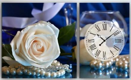 Настенные часы на холсте 100х60 Белые розы