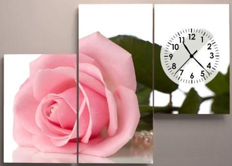 Настенные часы на холсте 90х60 Роза
