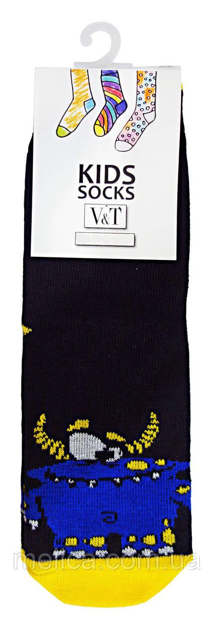 Носки детские Kids Socks V&T classic ШДКг 024-0438 Синий монстр р.16-18 Черный/темно-желтый