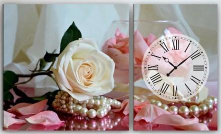 Часы с картиной на холсте Розы 100х60
