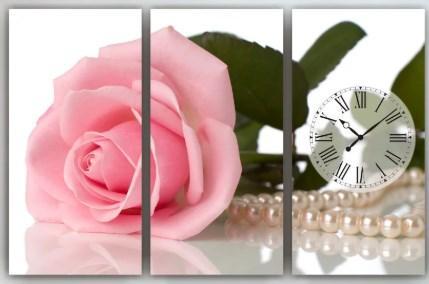 Настенные часы на холсте Роза 90х60