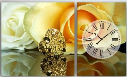 Часы с картиной на холсте 100х60 Розы